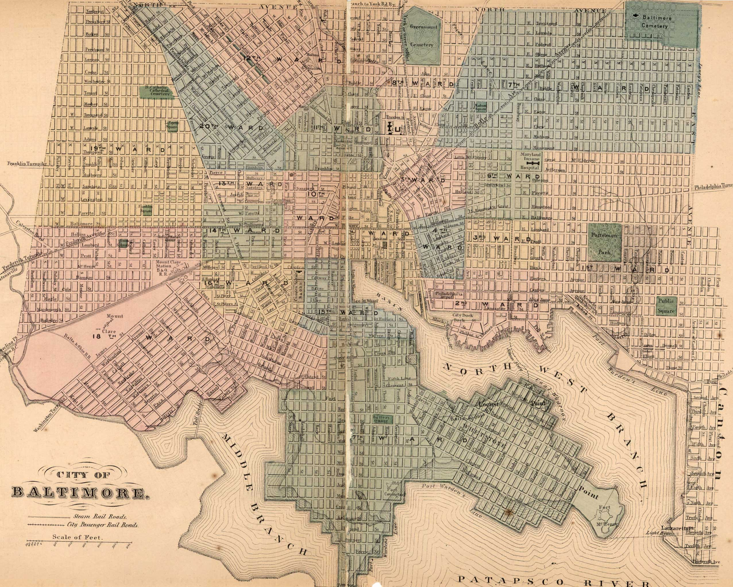 Baltimore City. Simon J. Martenet, Martenet's Atlas of Maryland, 1865, Huntingfield Collection, MSA SC 1399-1-75