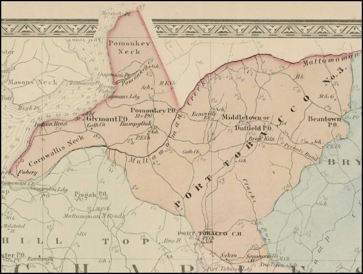Simon J. Martenet, Map of Charles County, 1865, Huntingfield Collection MSA SC 1399-1-75
