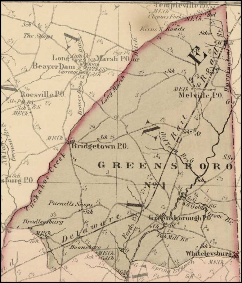 Simon J. Martenet, Map of Caroline County, 1865, Huntingfield Collection MSA SC 1399-1-75