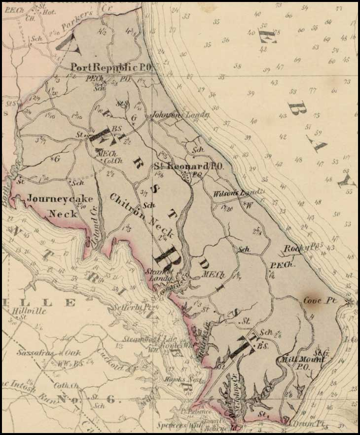 Simon J. Martenet, Map of Calvert County, 1865, Huntingfield Collection MSA SC 1399-1-75