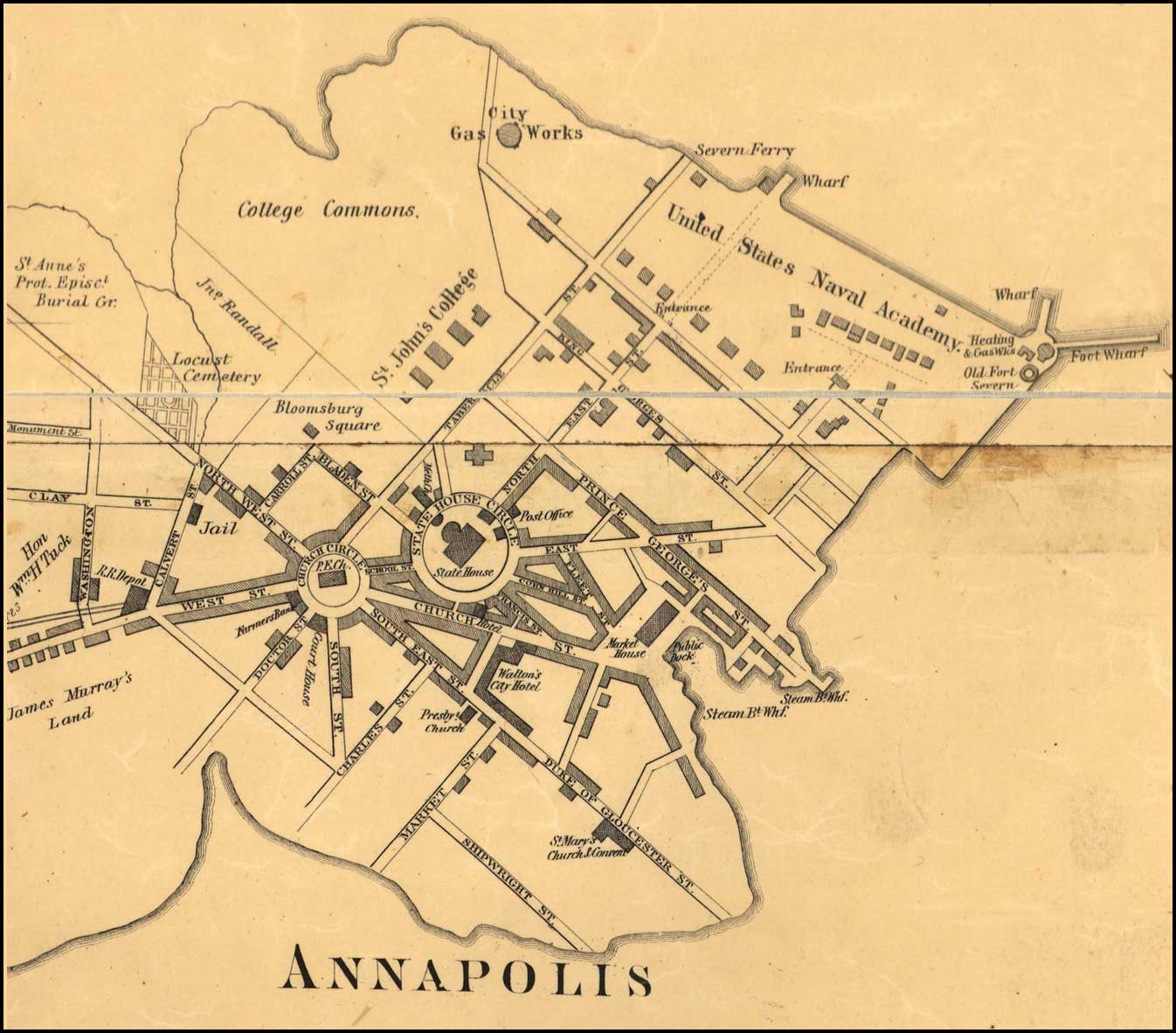Detail Of Annapolis From Simon J Martenet Map Of Anne