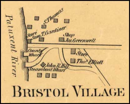 Detail of Bristol Village from Simon J. Martenet, Map of Anne Arundel County, 1860, Library of Congress, MSA SC 1213-1-11