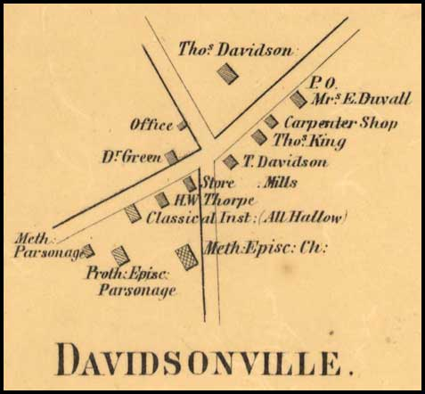 Detail of Davidsonville from Simon J. Martenet, Map of Anne Arundel County, 1860, Library of Congress, MSA SC 1213-1-117
