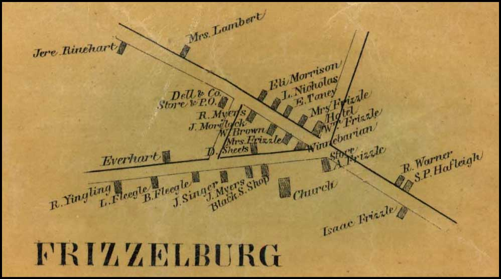 Detail of Fizzelburg from Simon J. Martenet, Map of Carroll County, 1862, Library of Congress, MSA SC 1213-1-119