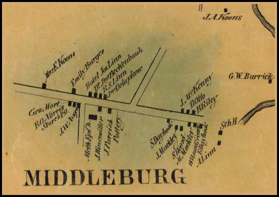 Detail of Middleburg from Simon J. Martenet, Map of Carroll County, 1862, Library of Congress, MSA SC 1213-1-119