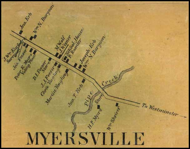 Detail of Meyersville from Simon J. Martenet, Map of Carroll County, 1862, Library of Congress, MSA SC 1213-1-119