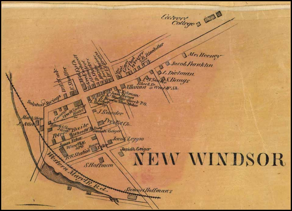 Detail of New Windsor from Simon J. Martenet, Map of Carroll County, 1862, Library of Congress, MSA SC 1213-1-119