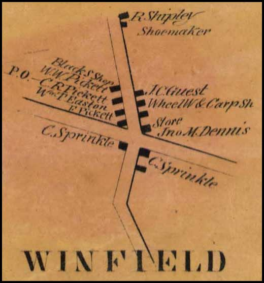Detail of Winfield from Simon J. Martenet, Map of Carroll County, 1862, Library of Congress, MSA SC 1213-1-119