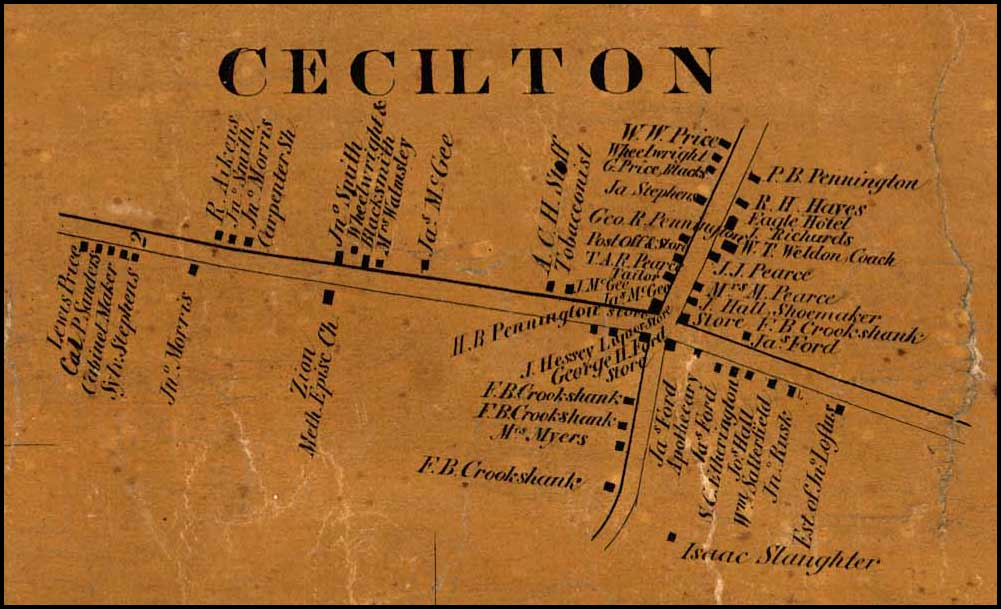 Detail of Cecilton from Simon J. Martenet, Map of Cecil County, 1858, Library of Congress, MSA SC 1213-1-462