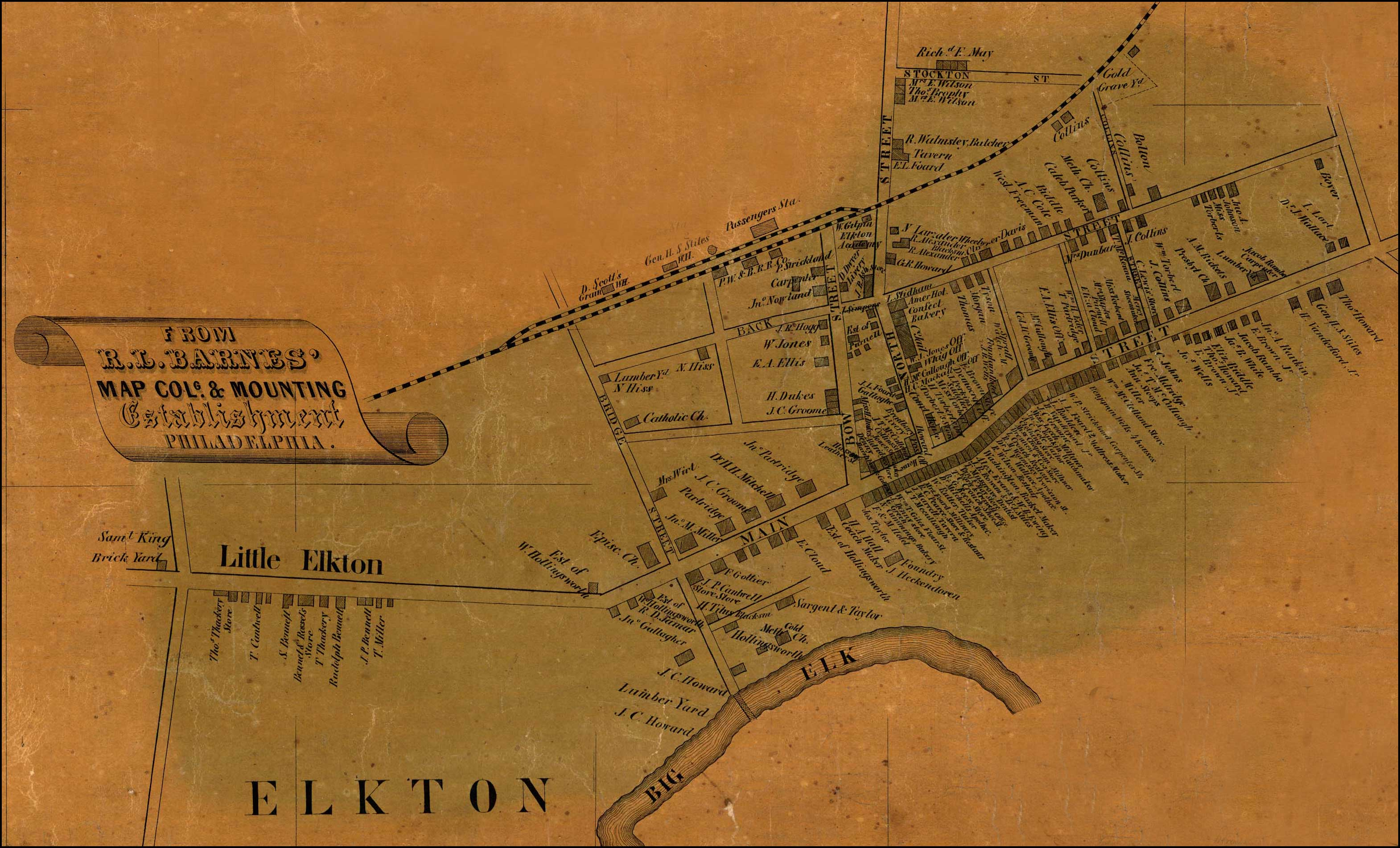 Detail of Elkton from Simon J. Martenet, Map of Cecil County, 1858, Library of Congress, MSA SC 1213-1-462