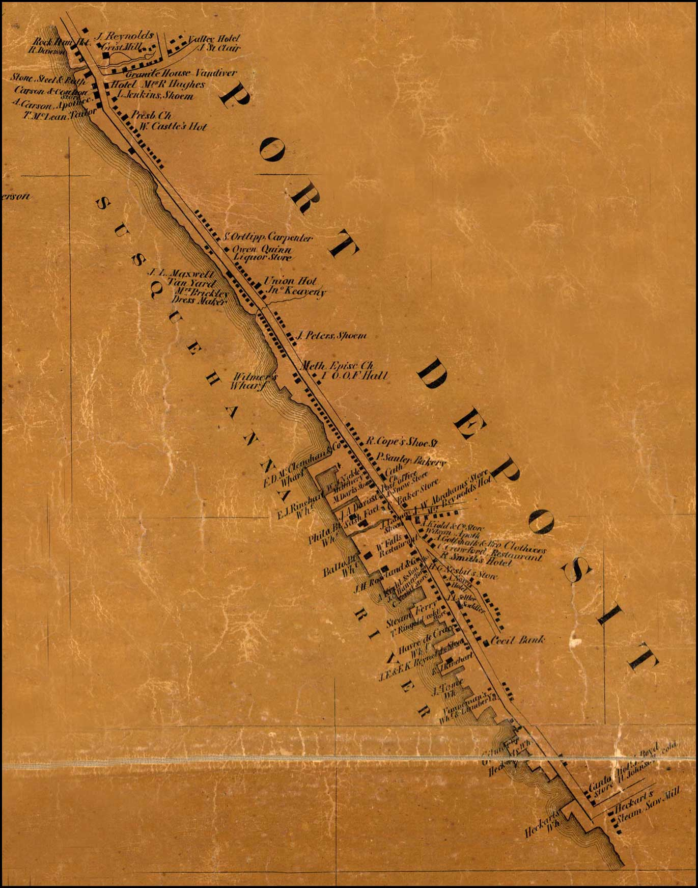 Detail of Port Deposit from Simon J. Martenet, Map of Cecil County, 1858, Library of Congress, MSA SC 1213-1-462