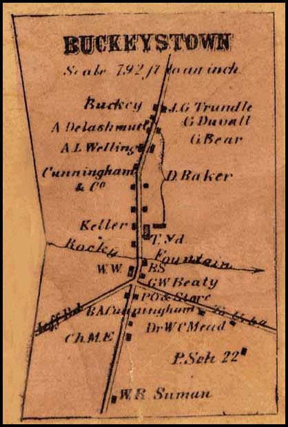 Detail of Buckeystown from Isaac Bond, Map of Frederick County, 1858, Library of Congress, MSA SC 1213-1-457