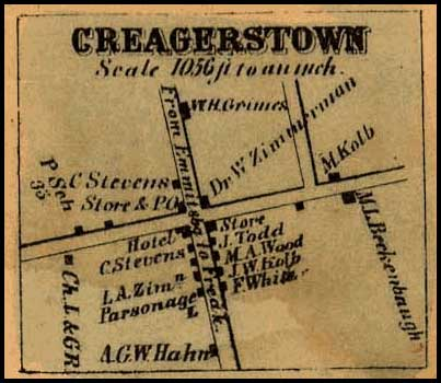 Detail of Creagerstown from Isaac Bond, Map of Frederick County, 1858, Library of Congress, MSA SC 1213-1-457