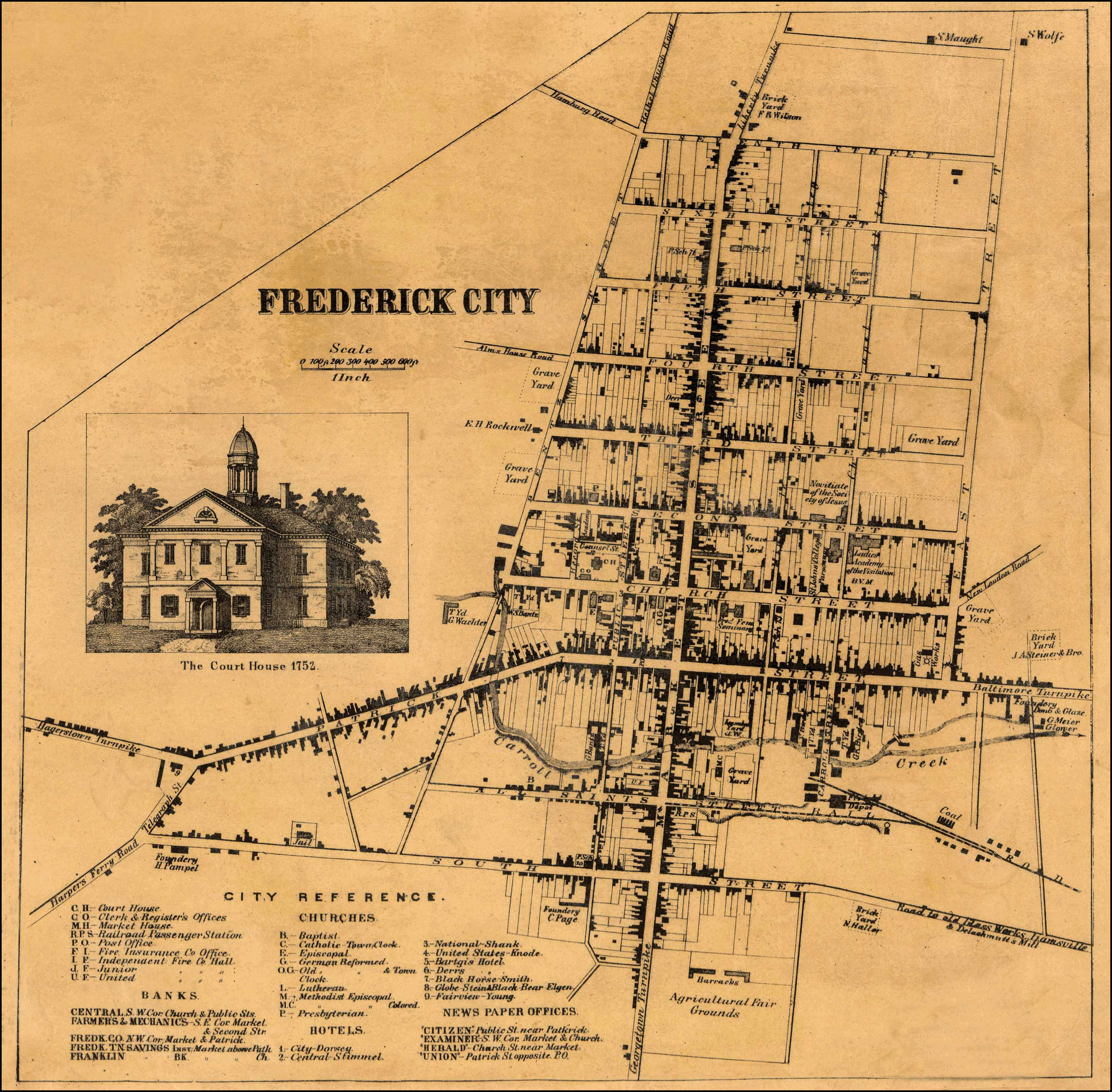 of Frederick City from Isaac Bond Map of Frederick County 1858