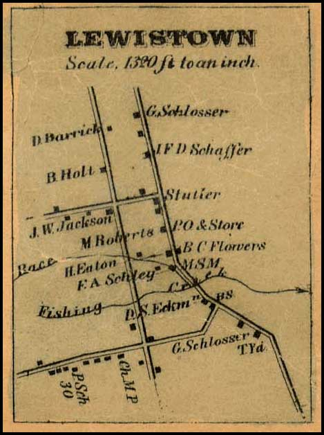 Detail of Lewistown from Isaac Bond, Map of Frederick County, 1858, Library of Congress, MSA SC 1213-1-457