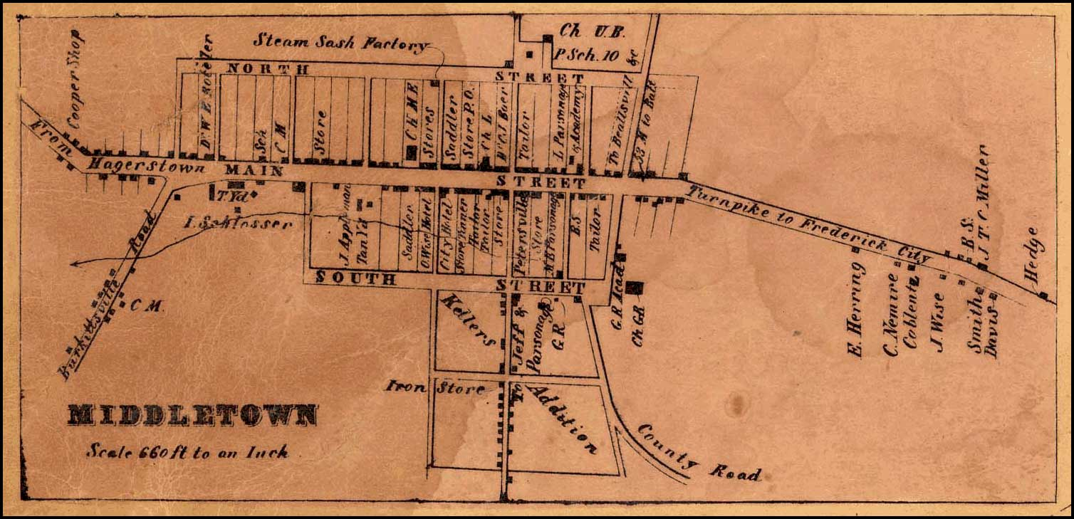 Detail of Middletown from Isaac Bond, Map of Frederick County, 1858, Library of Congress, MSA SC 1213-1-457