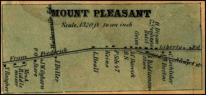Detail of Mount Pleasant from Isaac Bond, Map of Frederick County, 1858, Library of Congress, MSA SC 1213-1-457