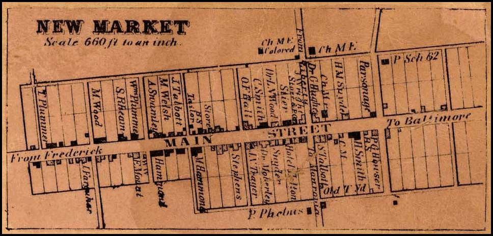Detail of New Market from Isaac Bond, Map of Frederick County, 1858, Library of Congress, MSA SC 1213-1-457