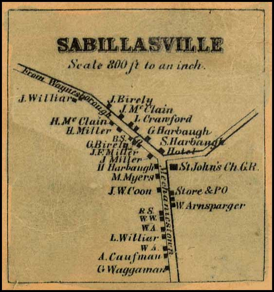 Detail of Sabillasville from Isaac Bond, Map of Frederick County, 1858, Library of Congress, MSA SC 1213-1-457