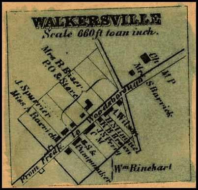Detail of Walkersville from Isaac Bond, Map of Frederick County, 1858, Library of Congress, MSA SC 1213-1-457