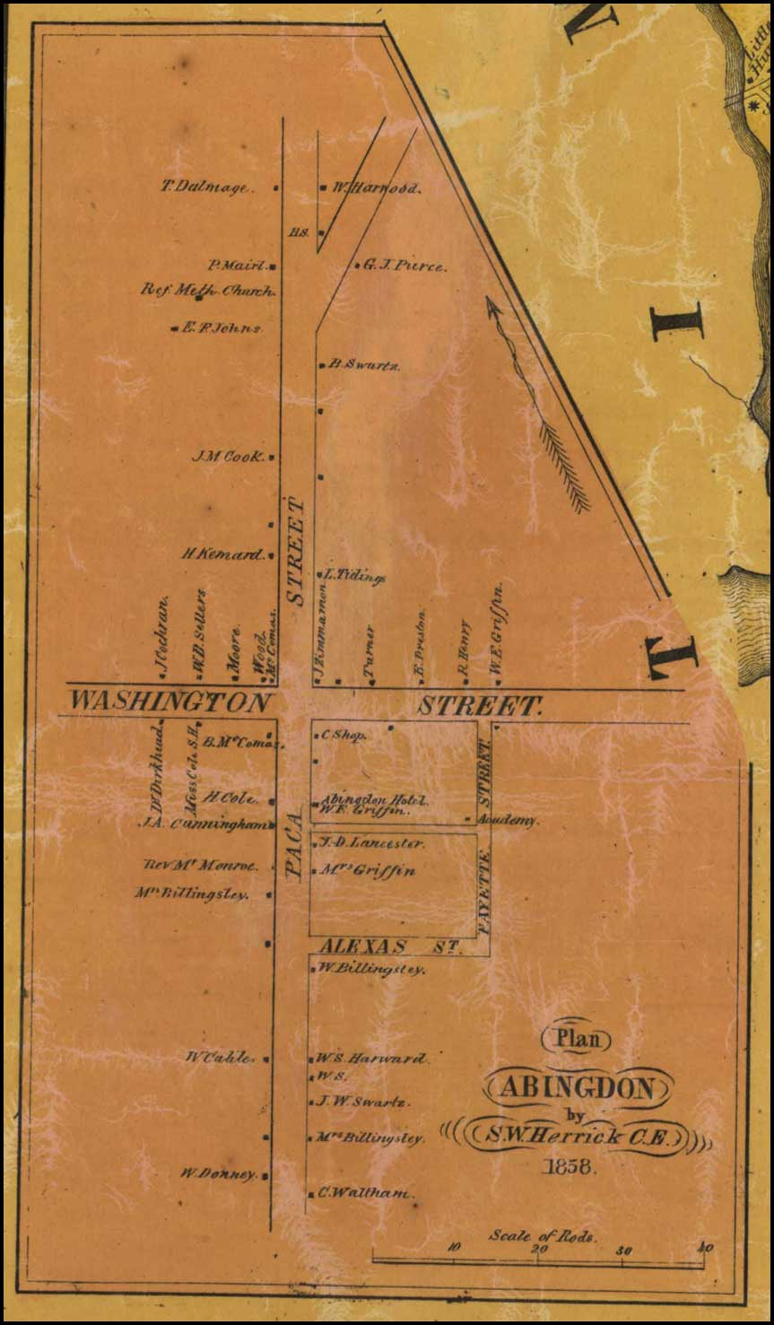 Detail of Abingdon from Jennings and Herrick, Map of Harford County, 1858, Library of Congress, MSA SC 1213-1