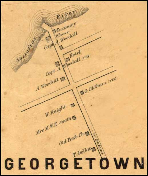 Detail of Georgetown from Simon J. Martenet, Map of Kent County, 1860, Library of Congress, MSA SC 1213-1-471
