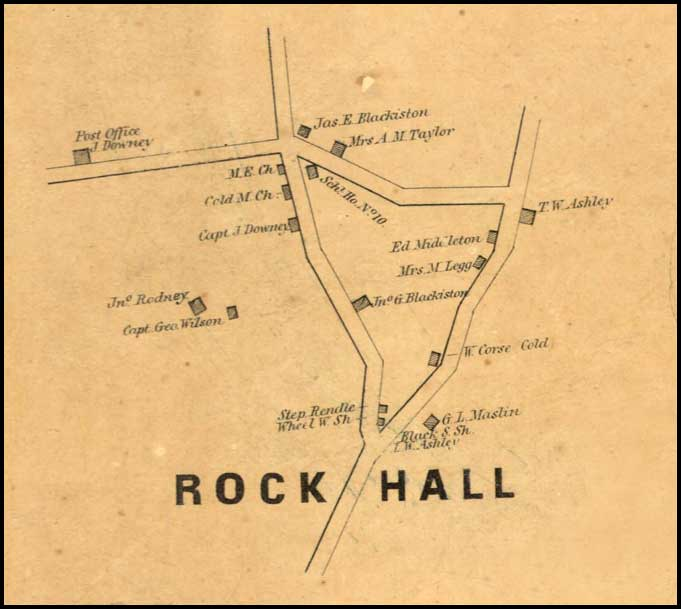 Detail of Rock Hall from Simon J. Martenet, Map of Kent County, 1860, Library of Congress, MSA SC 1213-1-471