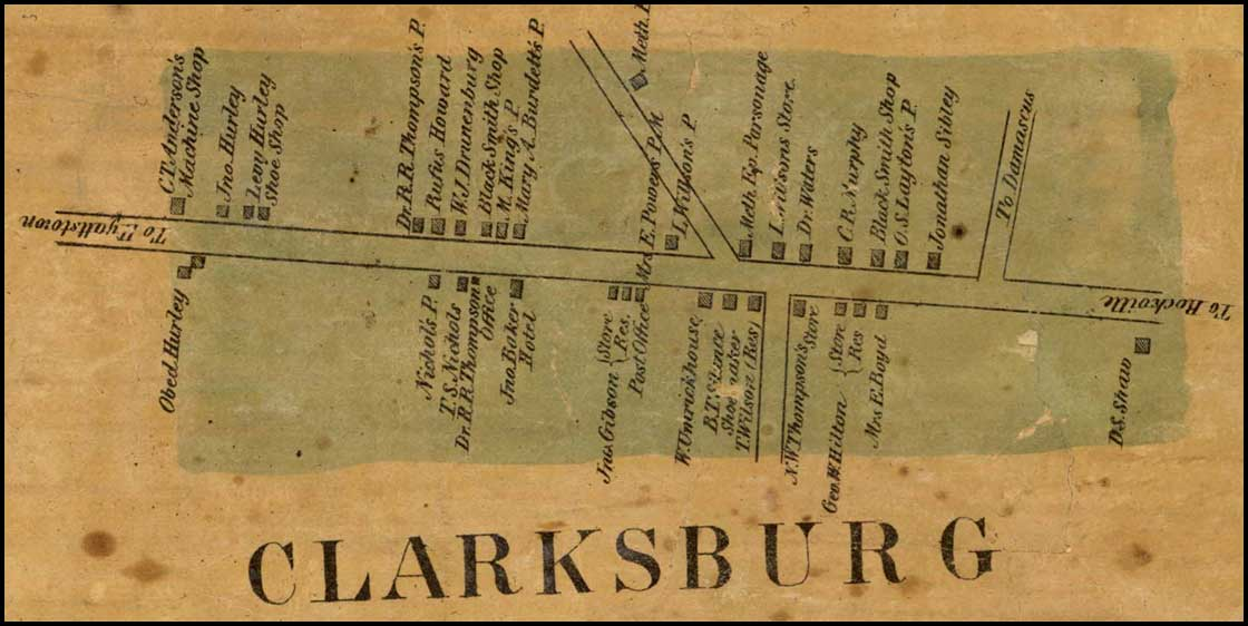Detail of Clarksburg from Simon J. Martenet, Martenet and Bond's Map of Montgomery County, 1865, Library of Congress, MSA SC 1213-1-464