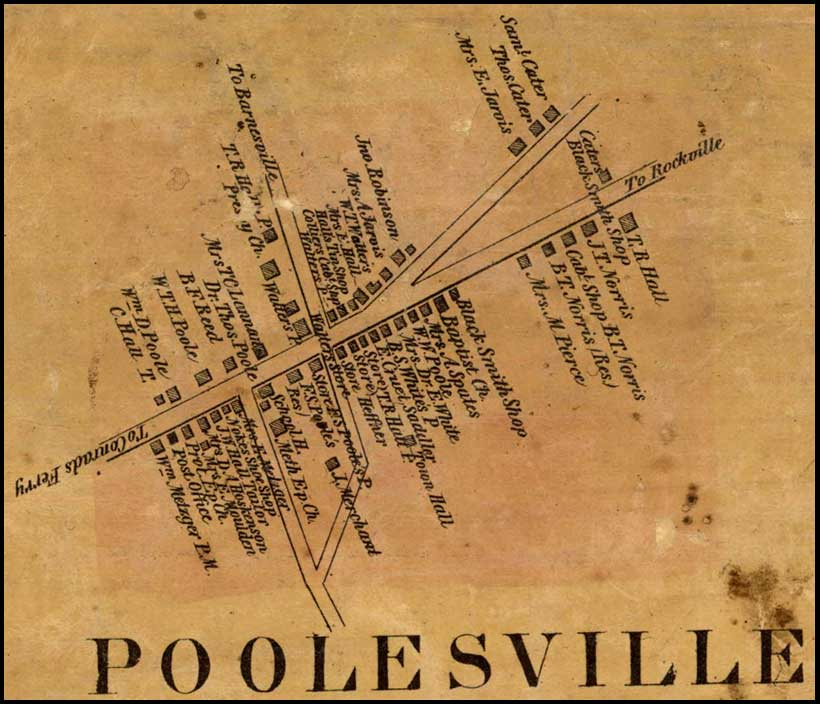 Detail of Poolesville from Simon J. Martenet, Martenet and Bond's Map of Montgomery County, 1865, Library of Congress, MSA SC 1213-1-464