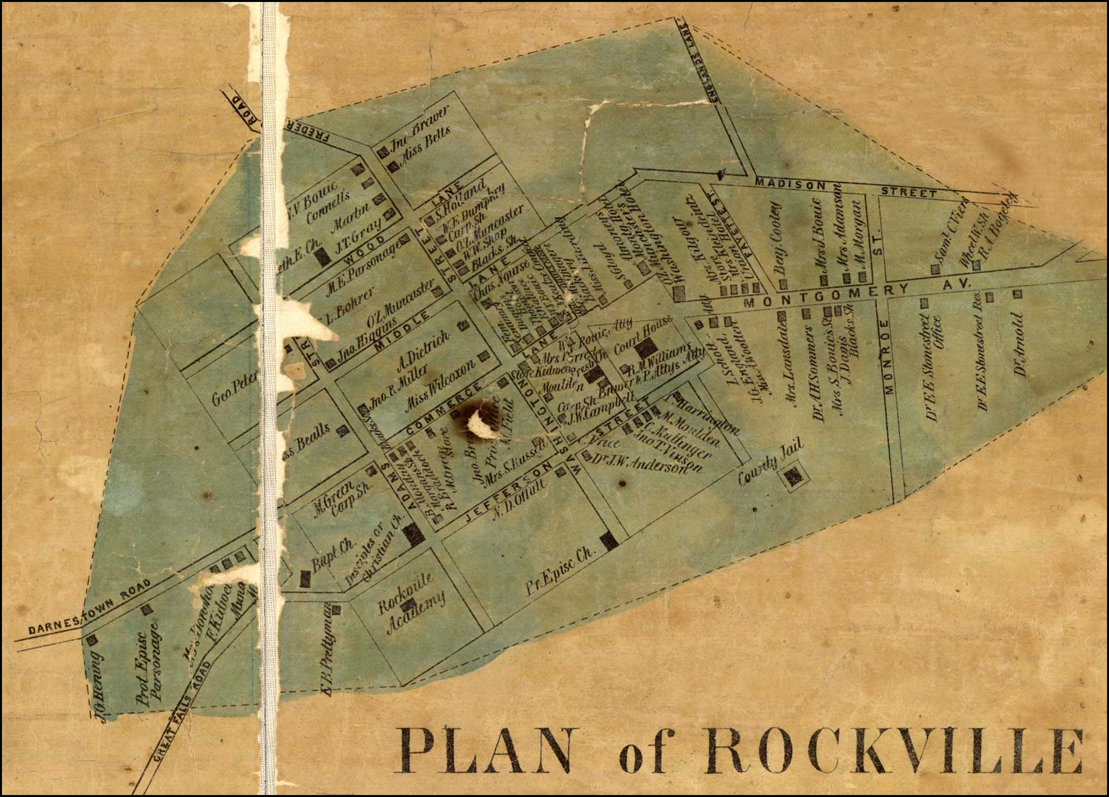 Detail of Rockville from Simon J. Martenet, Martenet and Bond's Map of Montgomery County, 1865, Library of Congress, MSA SC 1213-1-464
