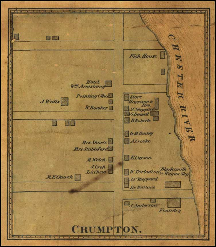 Detail of Crumpton from J. G. Stong's Map of Queen Anne's County, 1866, MSA SC 5080-1