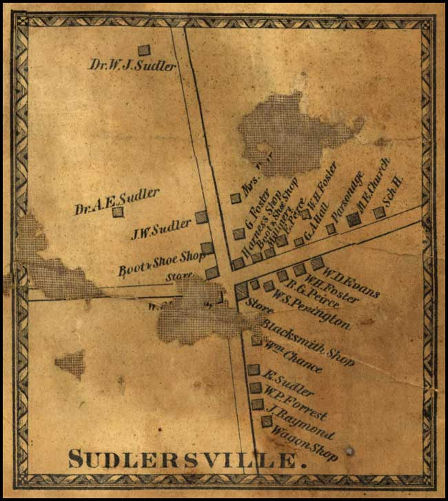 Detail of Sudlersville from J. G. Stong's Map of Queen Anne's County, 1866, MSA SC 5080-1