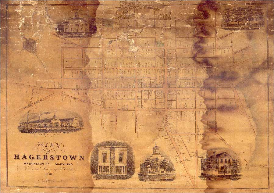 Map of Hagerstown. J.C. Sidney, 1850, MSA SC 5409-1-1