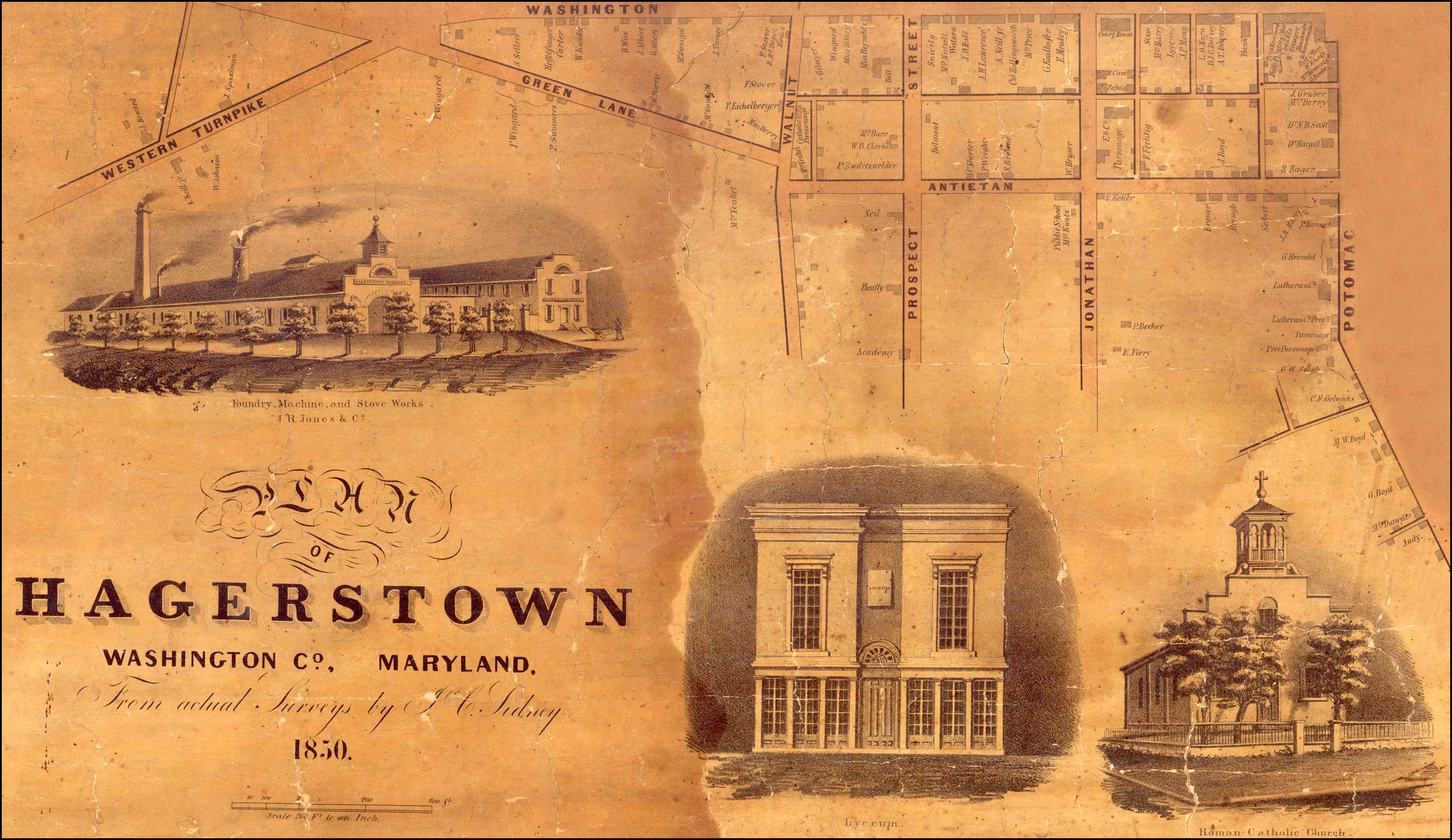 Detail of South-West Hagerstown from Map of Hagerstown. J.C. Sidney, 1850, MSA SC 5409-1-1