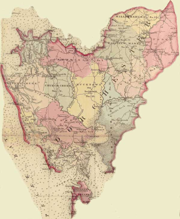 Dorchester County. Simon J. Martenet, Martenet's Atlas of Maryland, 1865, Huntingfield Collection, MSA SC 1399-1-75