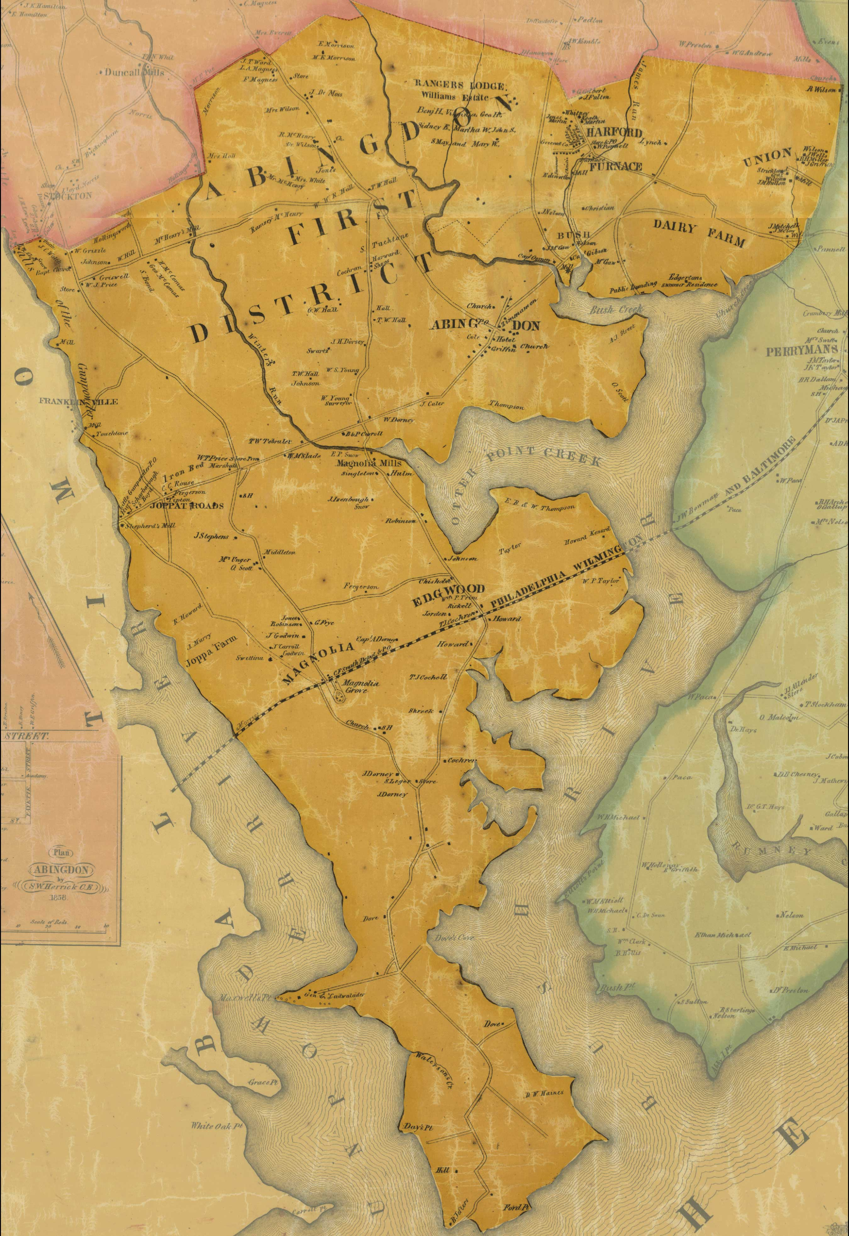 Jennings and Herrick, Map of Harford County, 1858, Library of Congress, MSA SC 1213-1