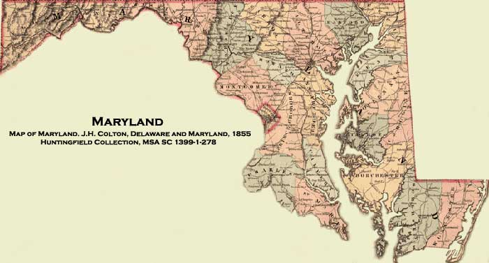 Of Maryland JH Colton Delaware And Maryland - Maryland maps
