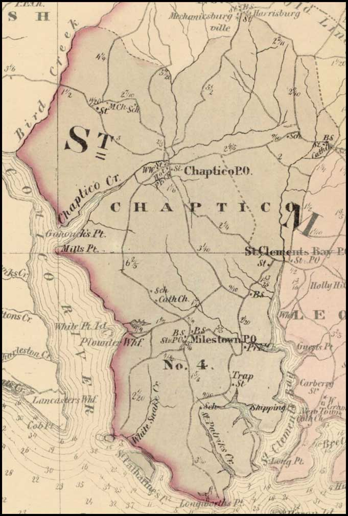 Simon J. Martenet, Map of St. Mary's County, 1865, Huntingfield Collection MSA SC 1399-1-75