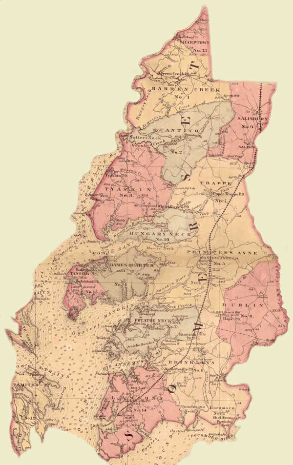 Somerset County. Simon J. Martenet, Martenet's Atlas of Maryland, 1865, Huntingfield Collection, MSA SC 1399-1-75