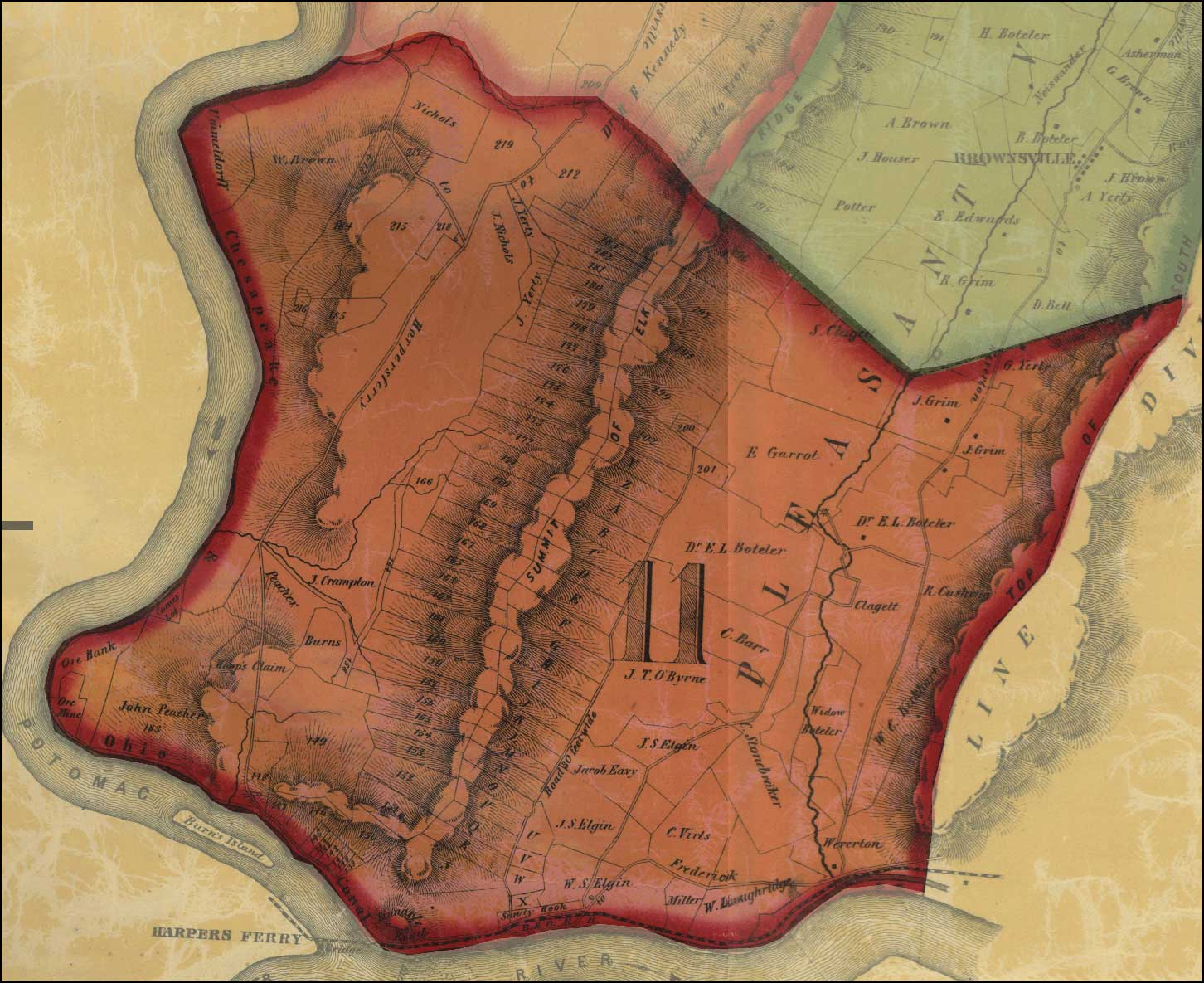 Thomas Taggert, A Map of Washington County, 1859, Library of Congress.MSA SC 1213-1-471