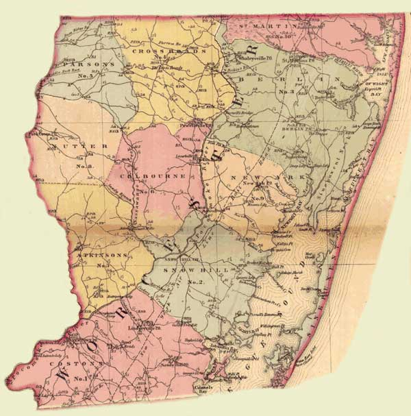 Worcester County. Simon J. Martenet, Martenet's Atlas of Maryland, 1865, Huntingfield Collection, MSA SC 1399-1-75